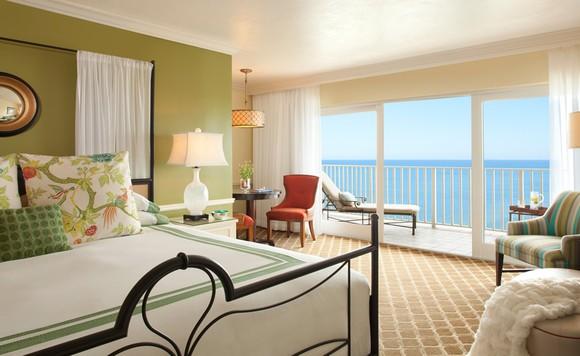 Hotel room with ocean view in Pebblebrook's LaPlaya Beach Resort & Club property.