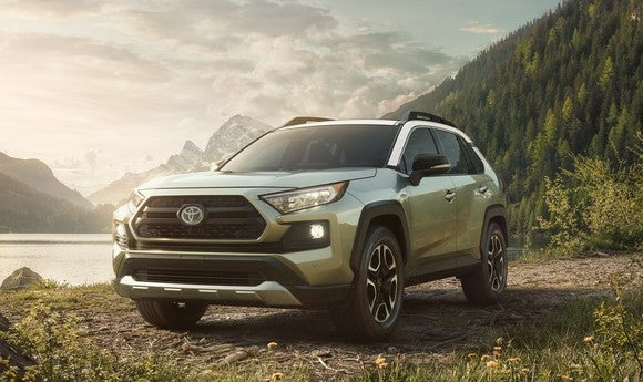 A 2019 RAV4 in Adventure trim, with fender-flare accents and roof rails.