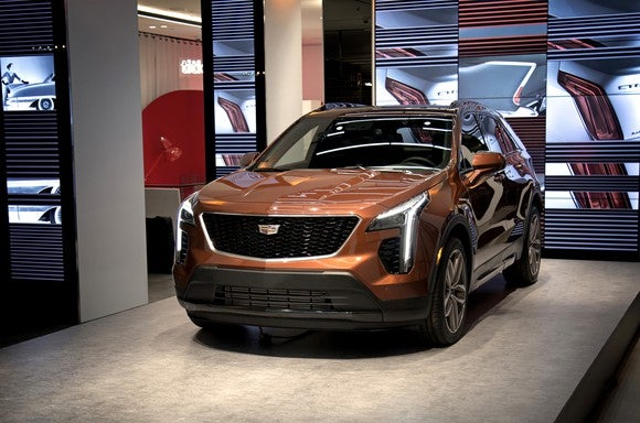 A copper-colored 2019 Cadillac XT4 Sport on display at Cadillac House in New York City.