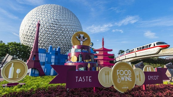 A monorail passed Epcot during the Food & Wine Festival.