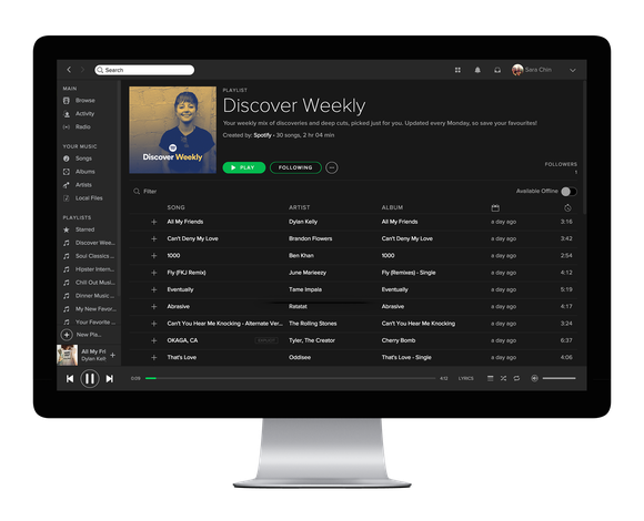 Spotify's Discover Weekly playlist on a desktop.