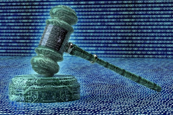 A judge's gavel surrounding by binary code.