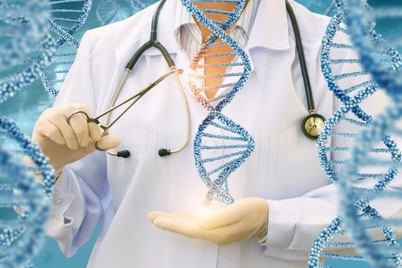 A researcher in a lab coat holding a double helix in one hand while snipping a piece of DNA from it using scissors in her other hand.