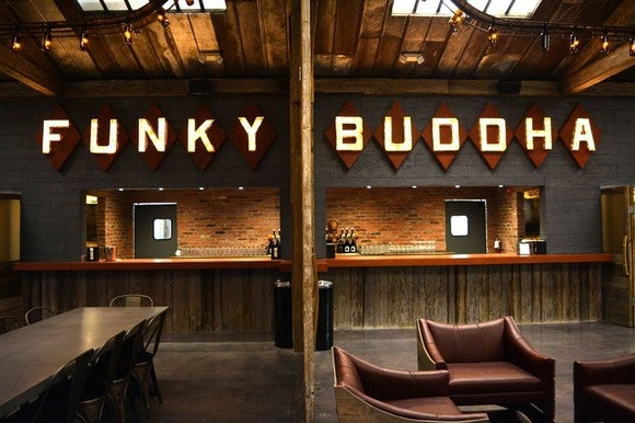 Interior event space at Funky Buddha brewery.