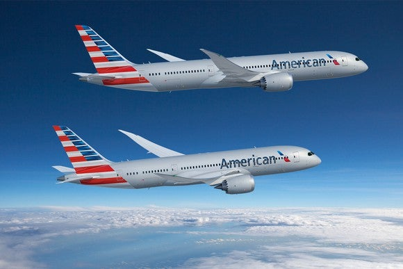 A rendering of a 787-8 and a 787-9 flying side-by-side in American Airlines liveries