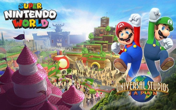 Super Nintendo World promotional art for Universal Studios Japan, set to open in 2021.
