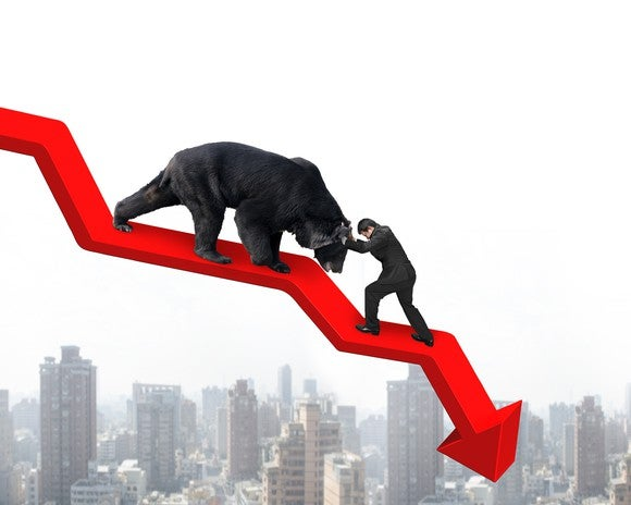 A bear on a line chart with a downward trend