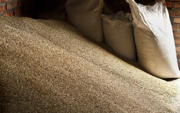 Pile of grain next to several bags of grain.
