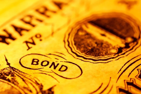Front of a yellow-colored bond with the word Bond clearly indicated.