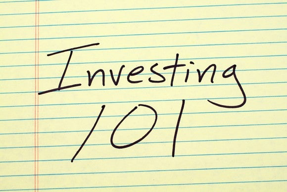 yellow lined paper, on which is written investing 101