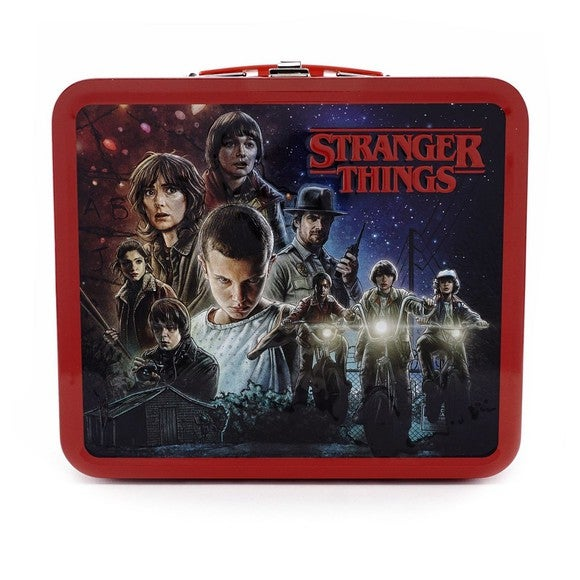 A Stranger Things lunchbox featuring the cast of the show.