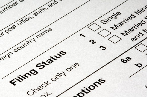 Close-up of part of a tax form asking for filing status -- single, married, etc.
