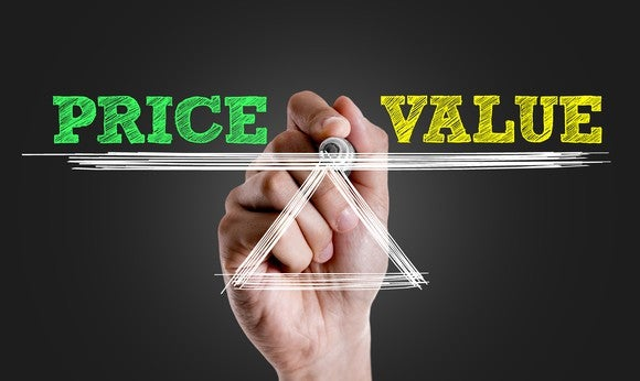 Hand holding up scale with Value being weighed against Price.