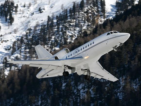 A business jet in flight