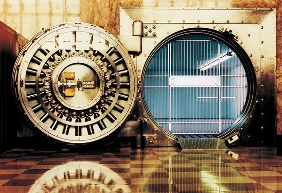 savings bank vault open and empty