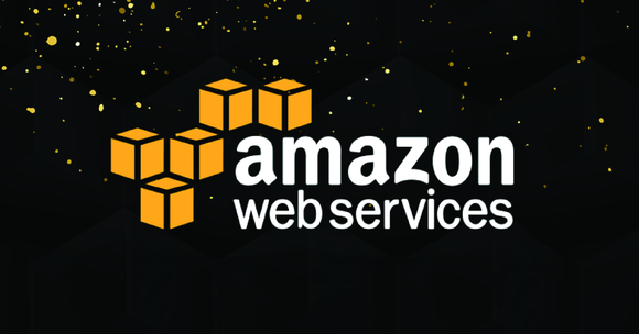 Amazon Web Services banner on black background.