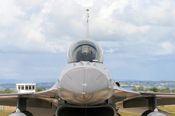 F-16 frontal close up view