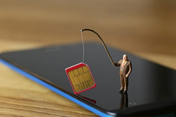 A tiny businessman, standing on a phone, holds a SIM card on a fishing rod.