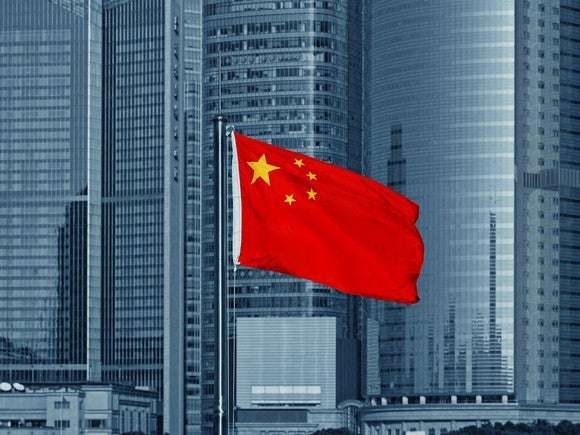 A Chinese flag with skyscrapers in the background.