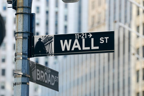 The street sign at the corner of Wall Street and Broad Street in Lower Manhattan, near the New York Stock Exchange.