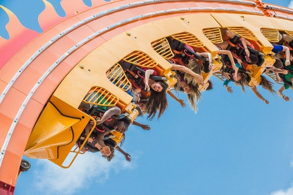 Six Flags patrons upside down on a roller coaster