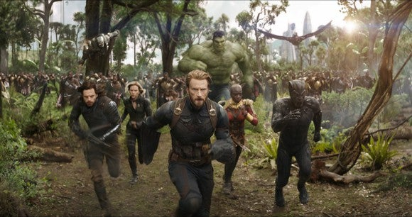 Characters from Marvel's Avengers: Infinity War, led by Captain America and Black Panther, running towards an unseen foe.