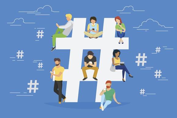 Illustration of people sitting on a hashtag symbol