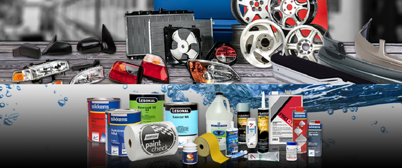 Assortment of auto parts and accessories, including wheels, radiators, lights, and cleaning products.