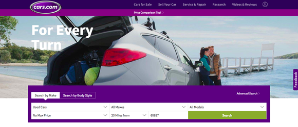 Cars.com's home page.