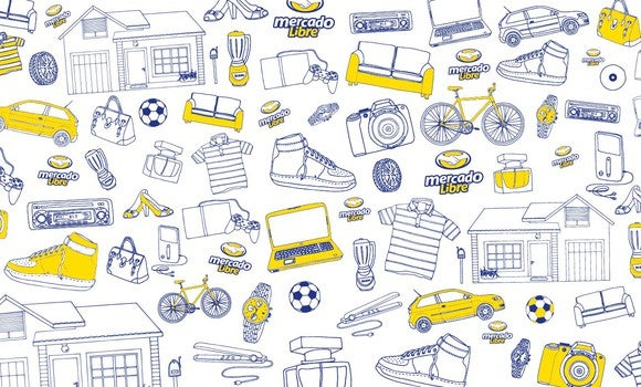A digital mural depicting a number of household, clothing and electronic items, and the Mercadolibre logo.