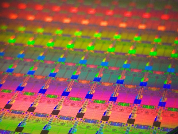 A wafer of Intel chips