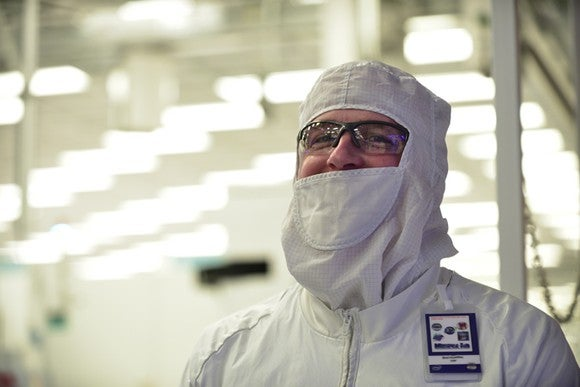 An Intel engineer inside of a chip manufacturing factory.