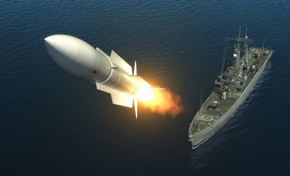 Missile being launched from a ship.