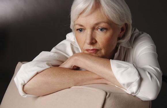 A concerned senior woman.