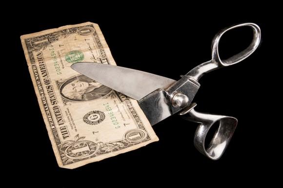 Dollar bill being cut by scissors
