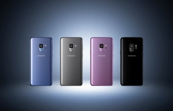 Four colors of Samsung's Galaxy S9 smartphones in a row.