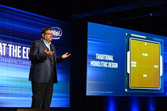 Intel executive Murthy Renduchintala presenting at the company's Technology and Manufacturing Day in 2017.