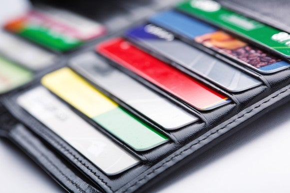 Open wallet with credit cards