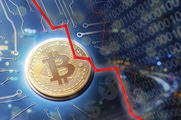 Artist's representation of digital bitcoin amid computer circuitry, with a downward red graph showing decline.