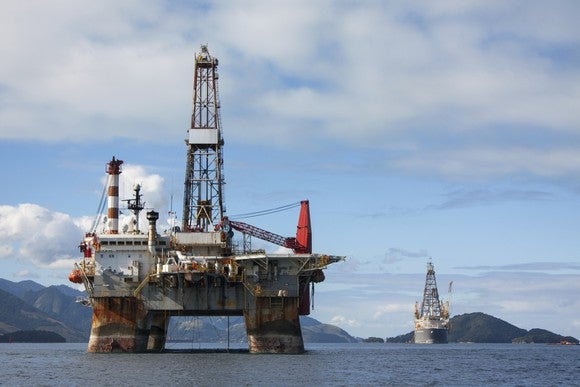 Offshore oil rig in shallow water.