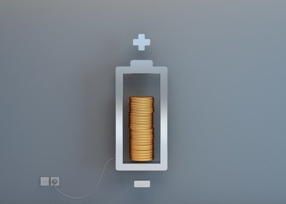 A battery with the charge level represented by a stack of coins.