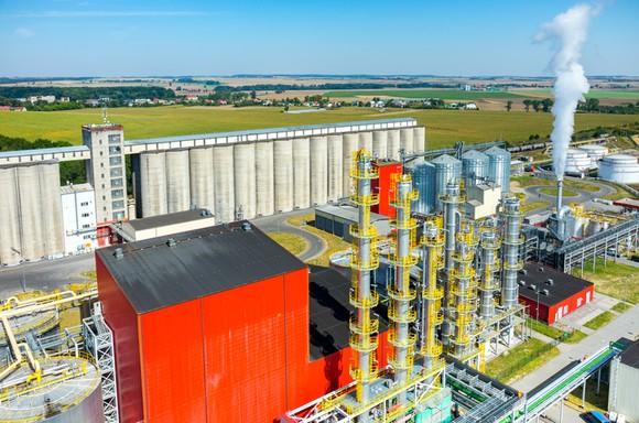 A birds' eye view of an ethanol facility.