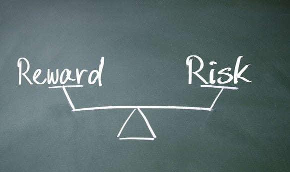 Drawing of a scale on a blackboard with the word reward on one end and the word risk on the other