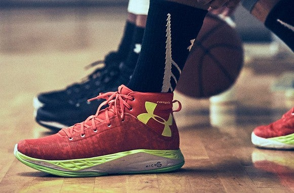 Under Armour basketball shoes in black and red.