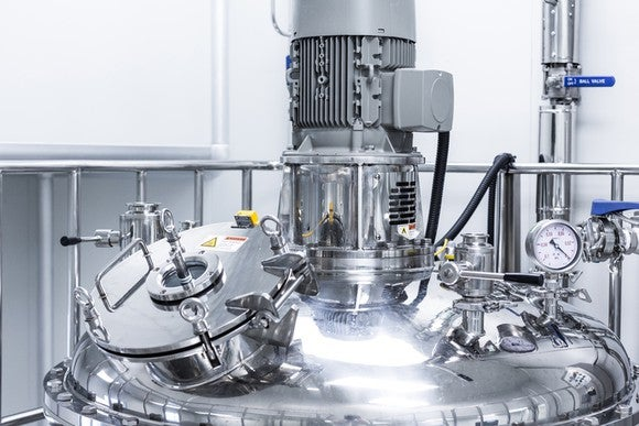 A pilot-scale stainless steel bioreactor.