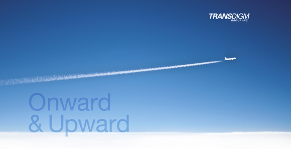 Blue sky with plane and jet contrail, with words onward & upward and TransDigm logo.