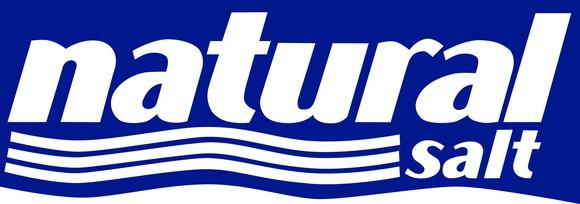 Blue and white logo for natural salt.