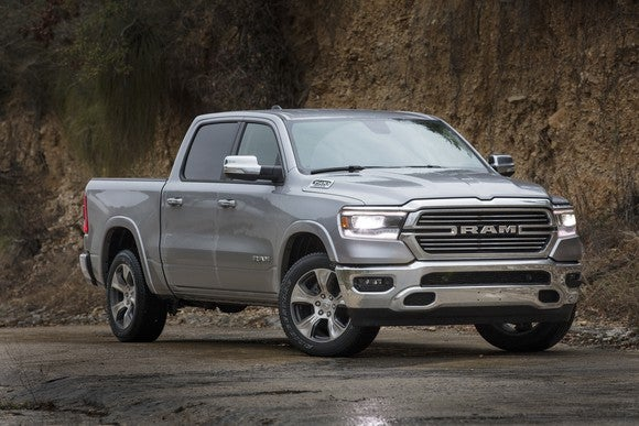 A silver 2019 Ram Limited, an upscale full-size pickup truck.