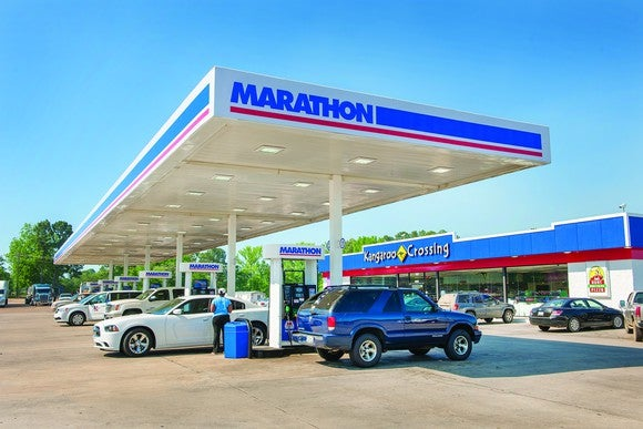 Gas station with Marathon Petroleum logo and associated convenience store.