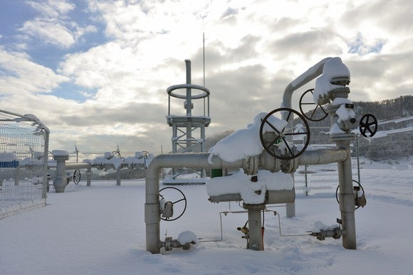 Snow covered natural gas pipeline valves.